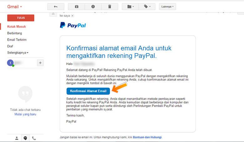 Step 8 Email konfirmasi dari PayPal