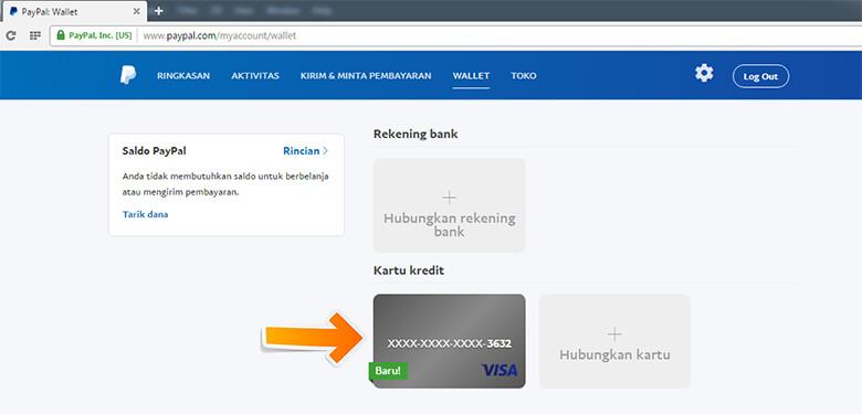 Step 3 Kartu baru sudah disimpan di akun PayPal