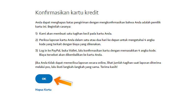 Step 5 Informasi tentang Konfirmasi Kartu Kredit