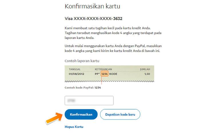 Step 7 Memasukkan 4 Digit Kode PayPal