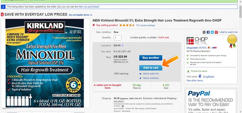 Tampilan Product Details di eBay