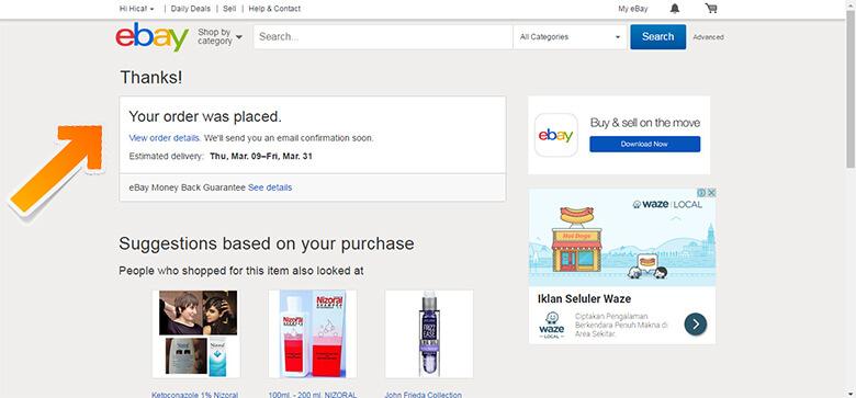 Pembelian Barang di eBay Berhasil