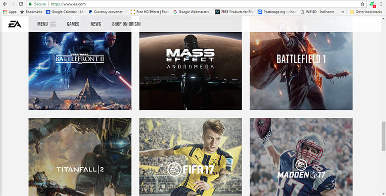 Website EA (Electronic Arts)