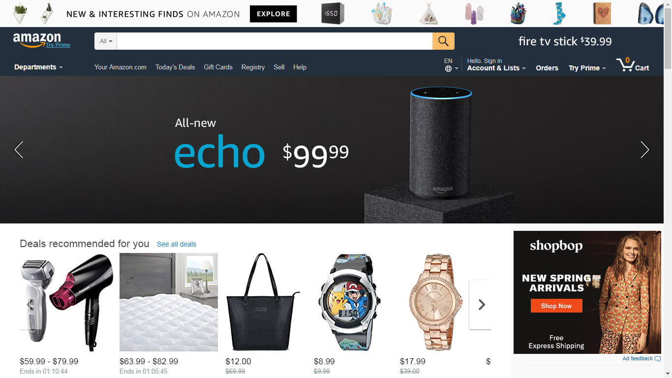 Halaman Depan Amazon.com
