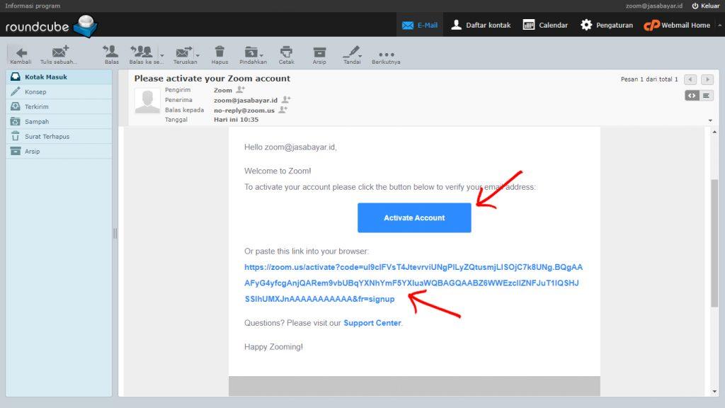 Tampilan email Konfirmasi Zoom
